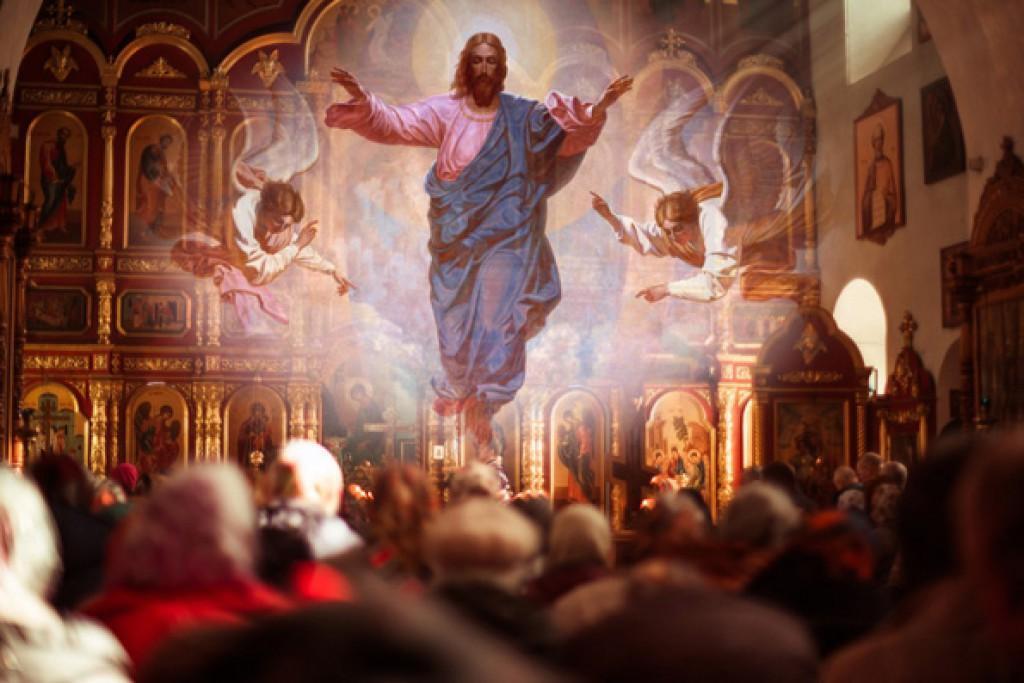 На 40-й день после Своего воскресения Спаситель вознесся на небо