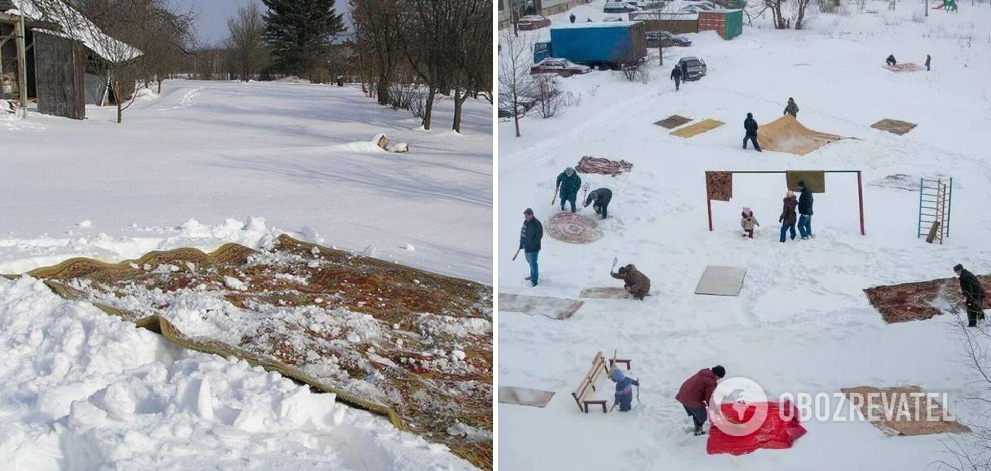 Перед Новым годом люди устраивали генеральную чистку ковров.
