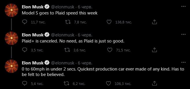 Твіти Ілона Маска про відміну Model S Plaid+