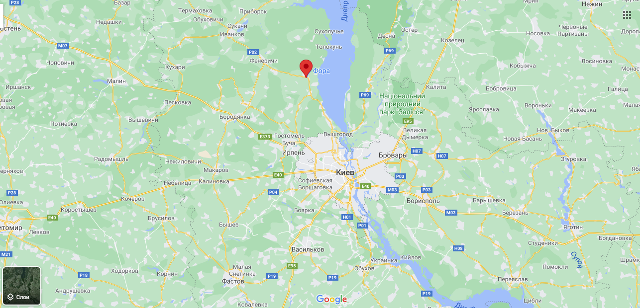 Поселок Дымер под Киевом на карте