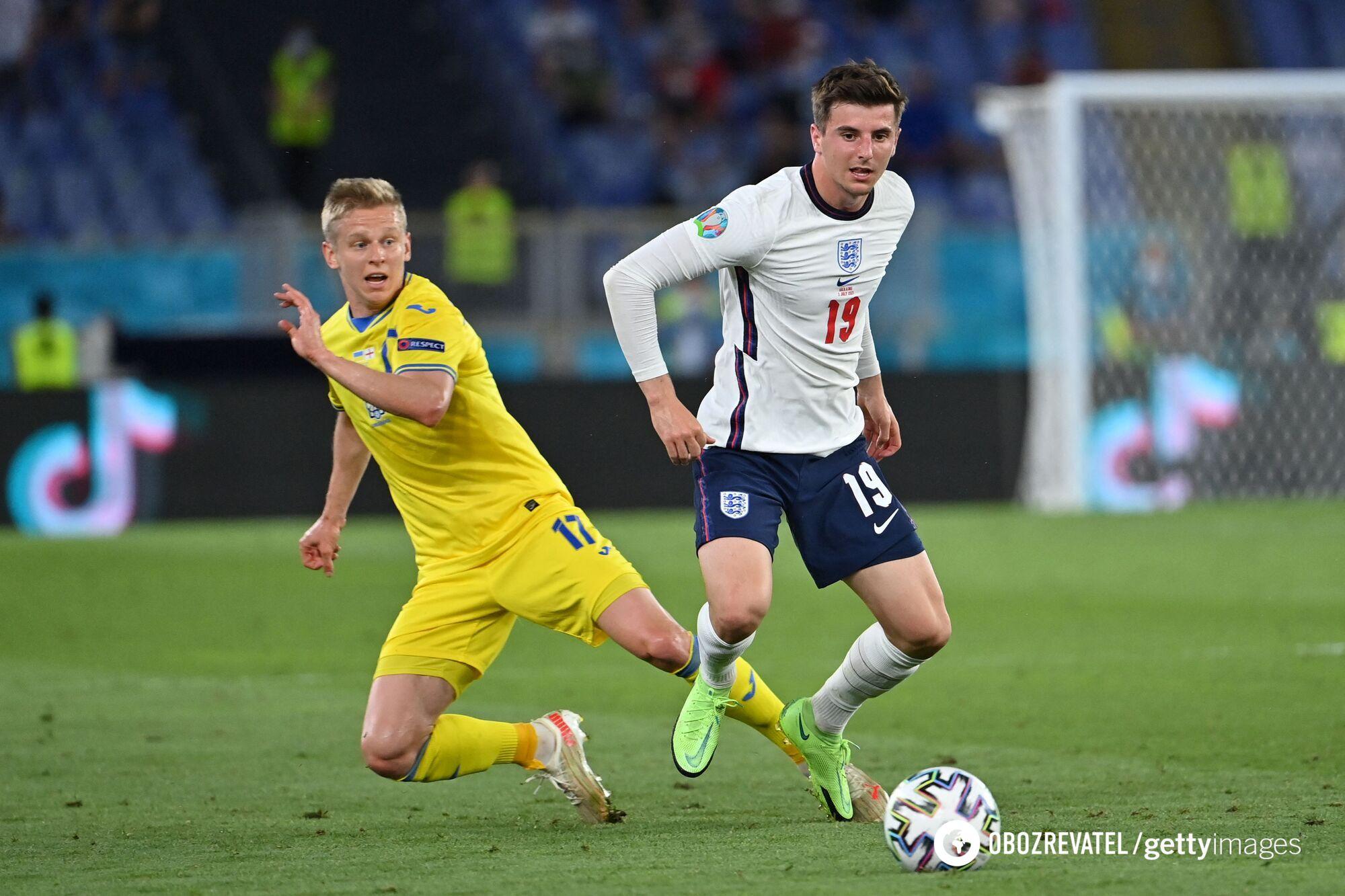 Олександр Зінченко в грі з Англією.