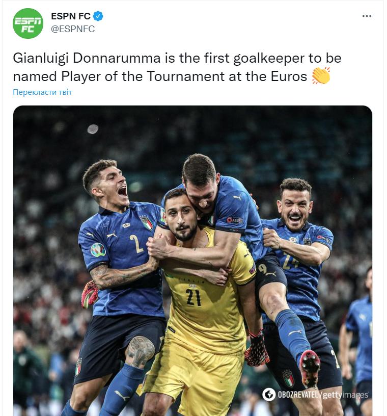 Джанлуиджи Доннарумма стал первым вратарем, который завоевал звание лучшего игрока Евро