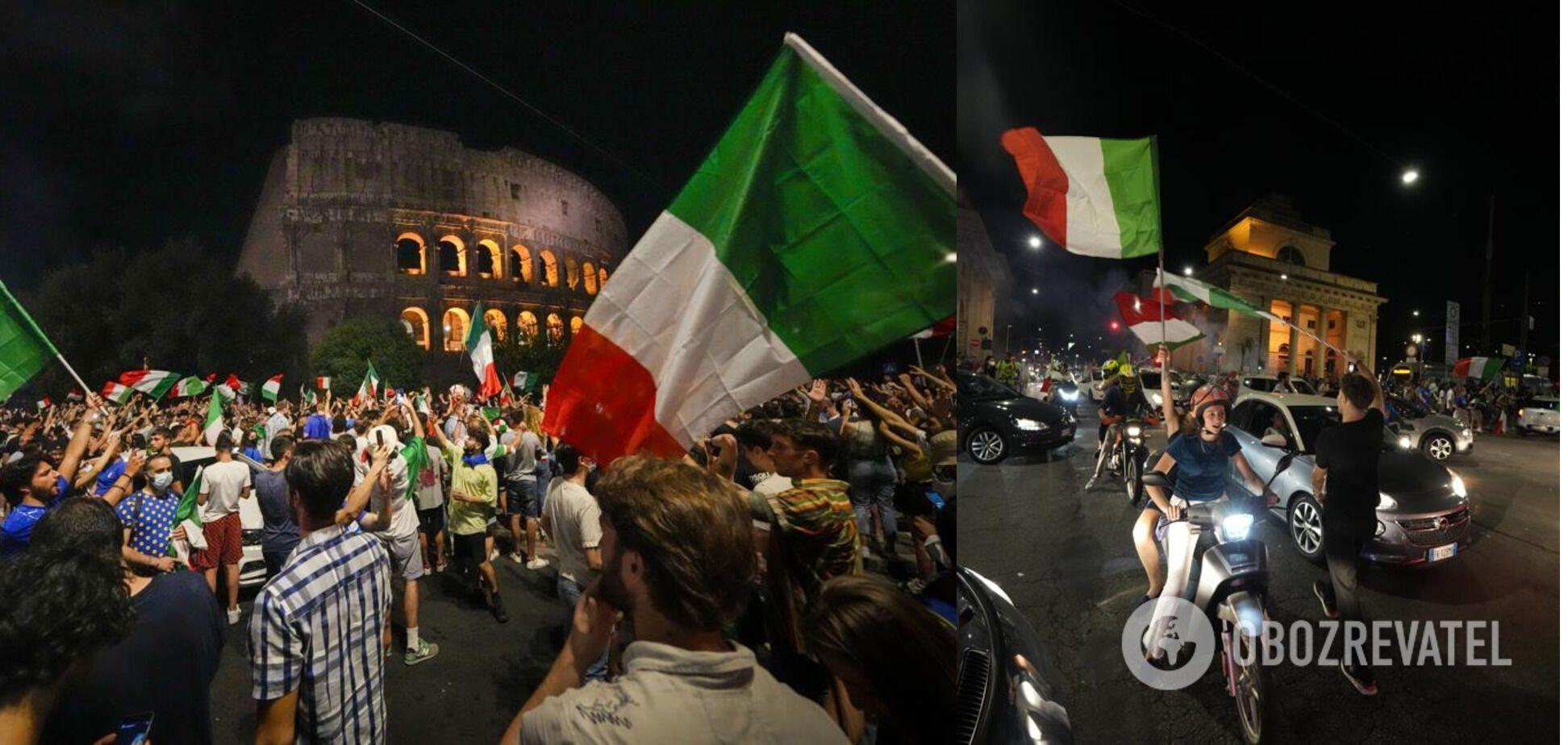 Итальянцы празднуют победу сборной по футболу на Евро-2020