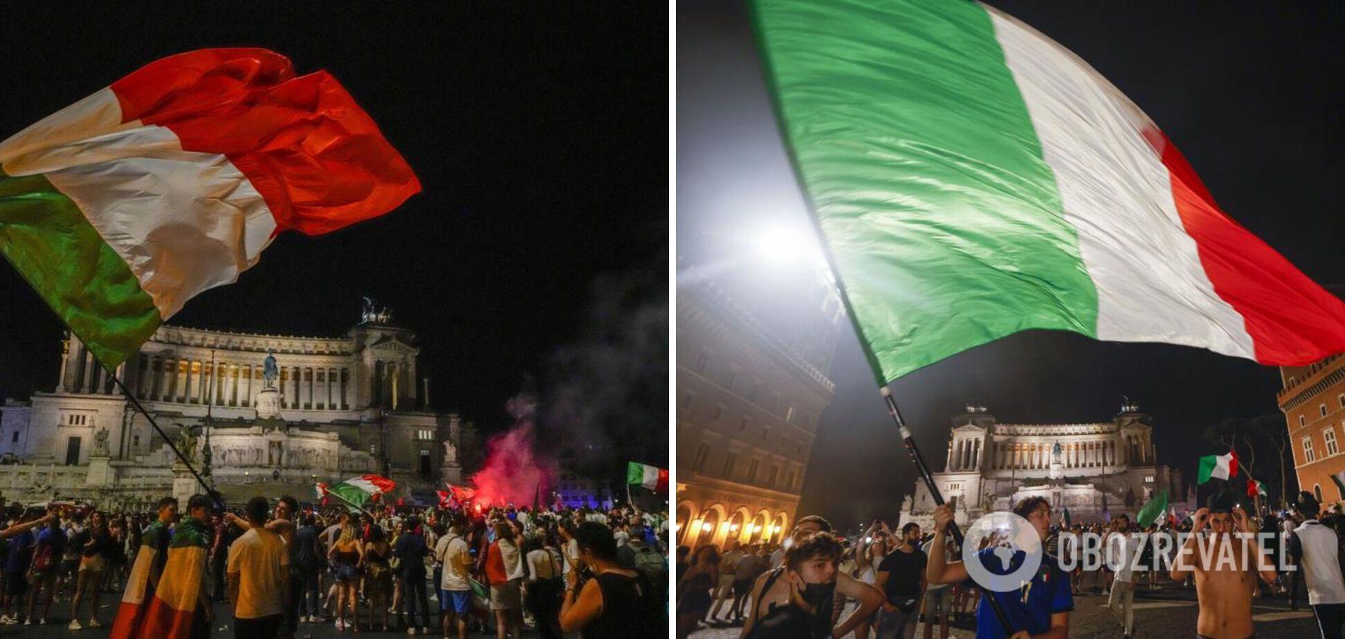 В Риме фанаты праздновали победу сборной на площади Пьяцца-дель-Пополо