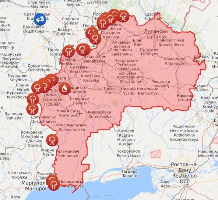 Карта войны в Донбассе