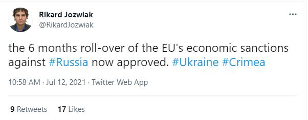 ЕС продлил антироссийские санкции.