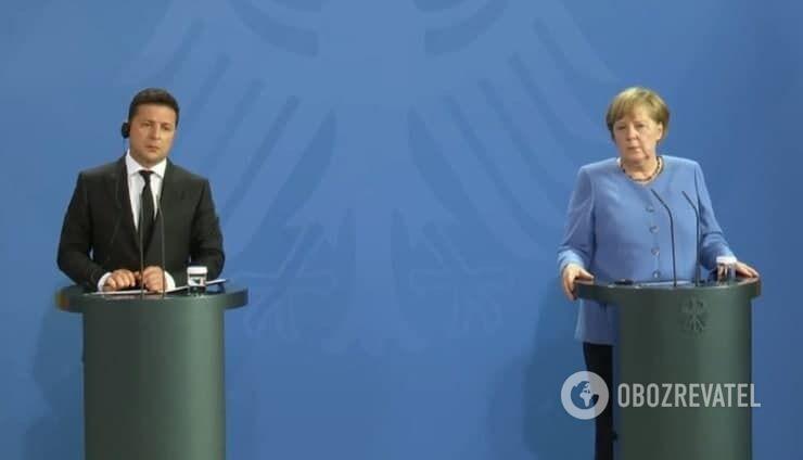 Зеленский и Меркель на брифинге в Берлине 12 июля