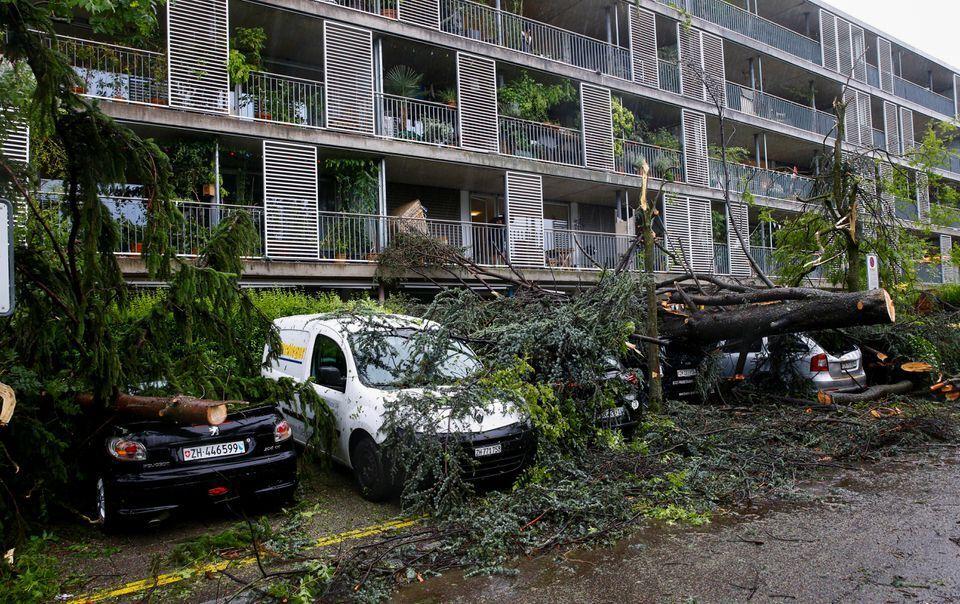 Избитые ураганом машины