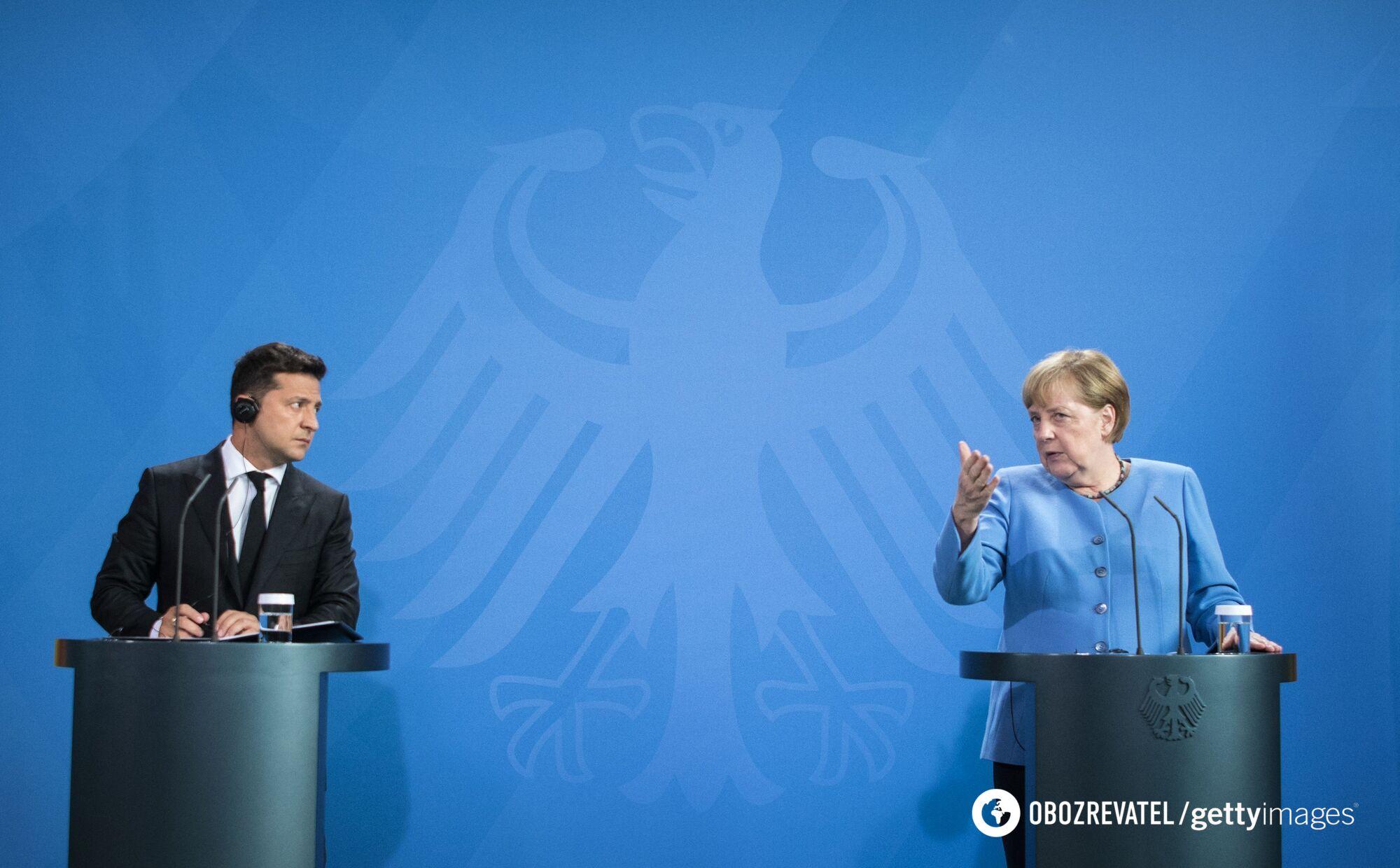 Володимир Зеленський і Ангела Меркель на брифінгу 12 липня