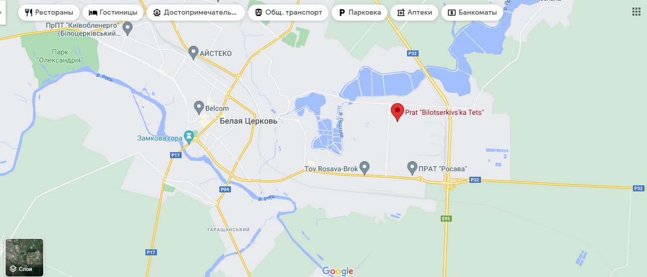 Білоцерківська ТЕЦ на мапі