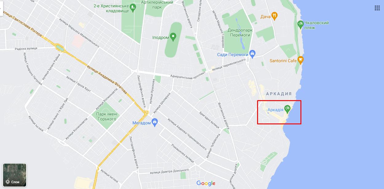 """Одеський пляж """"Аркадія"""" на карті"""