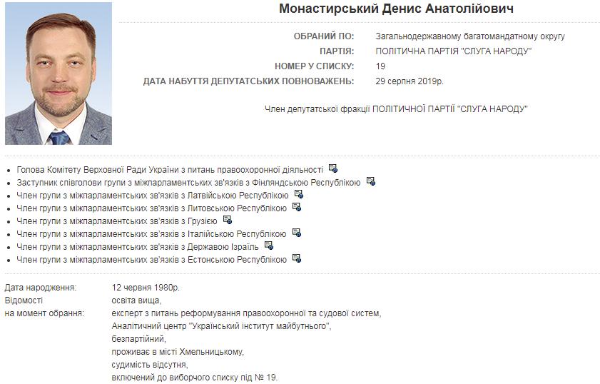Дані про Монастирського на сайті Ради