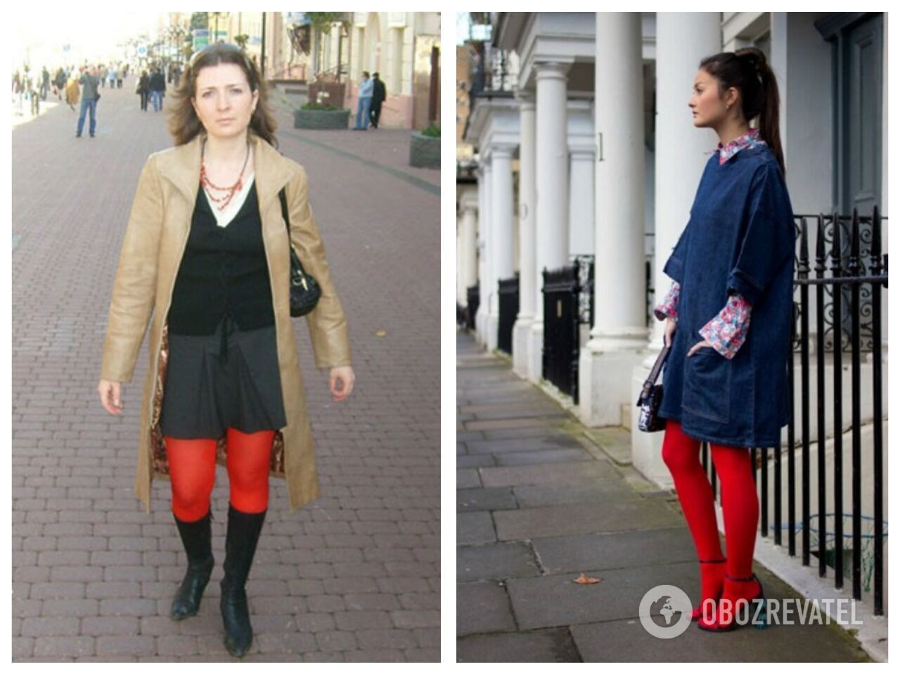 Слева неудачный образ с красными колготками, а справа – удачный