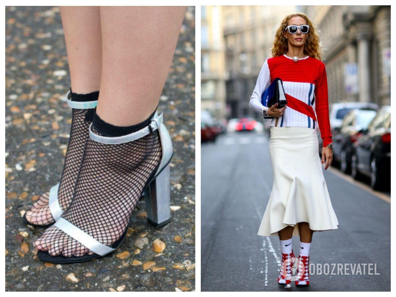 Слева неправильный подбор носков и босоножек, а справа – удачный образ с носками