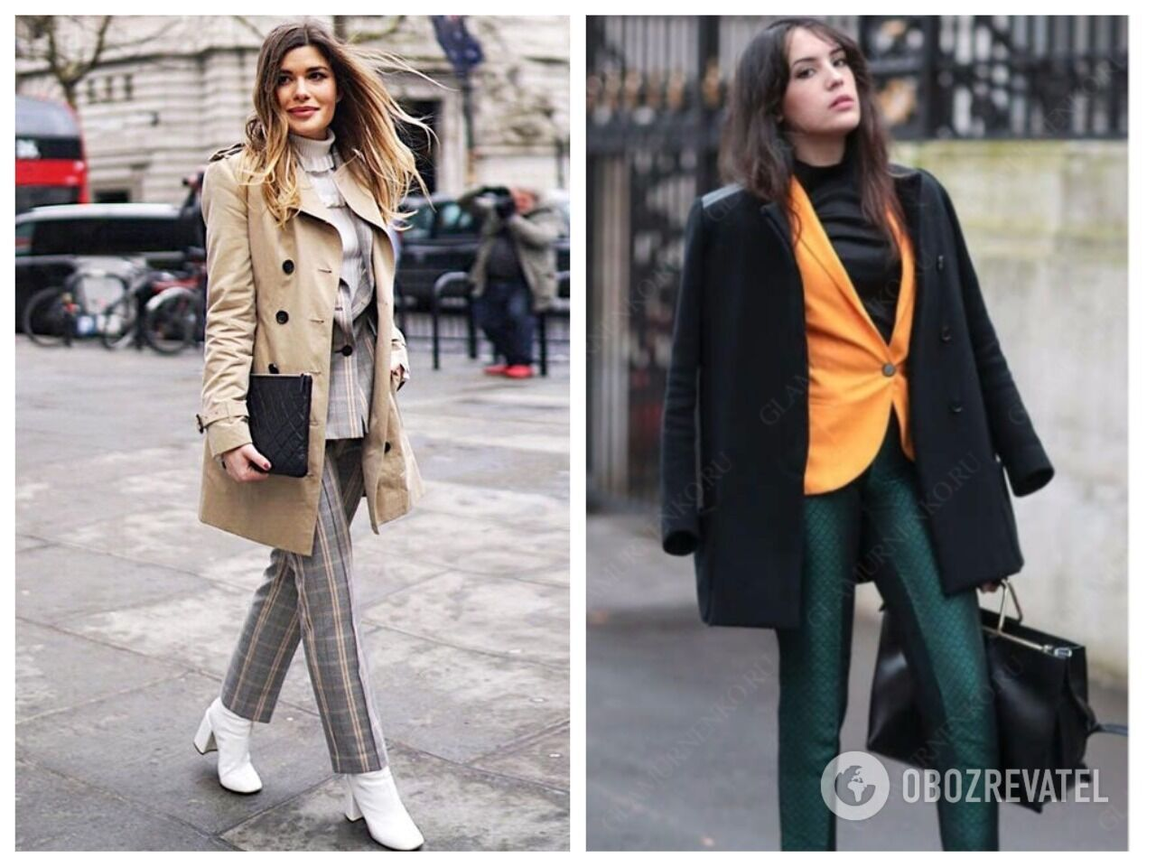 Слева вариант с тренчем неудачный. Правильно носить пиджак только с пальто, как на примере справа