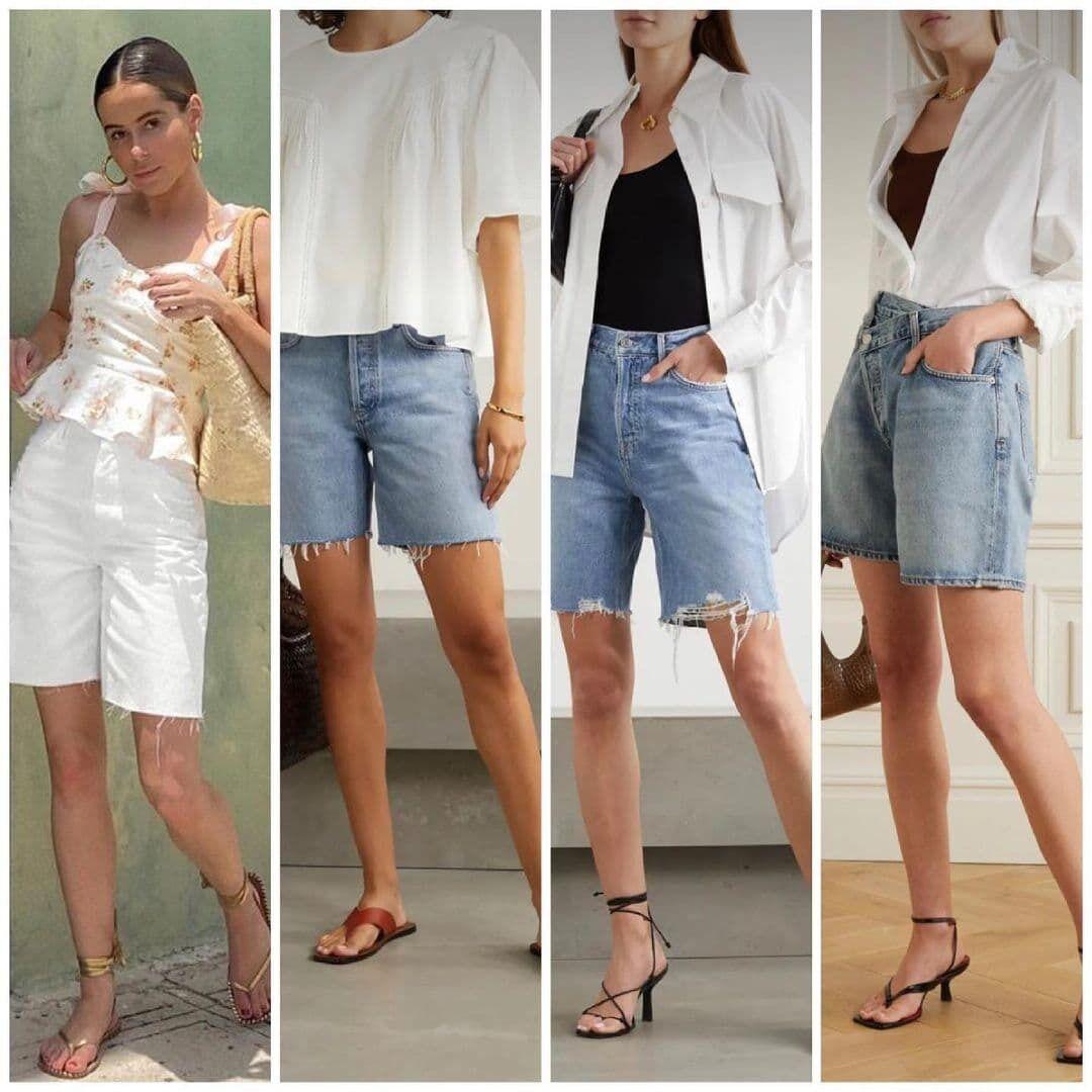Джинсові шорти у поєднанні з широкими футболками та сорочками