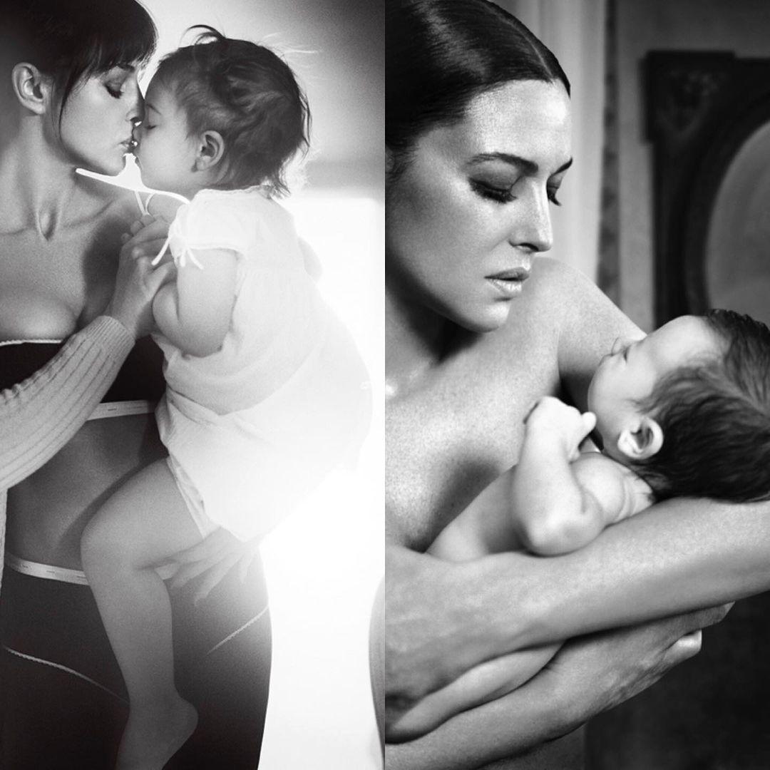 Моника Беллуччи с маленькими дочерьми Девой и Леони Кассель