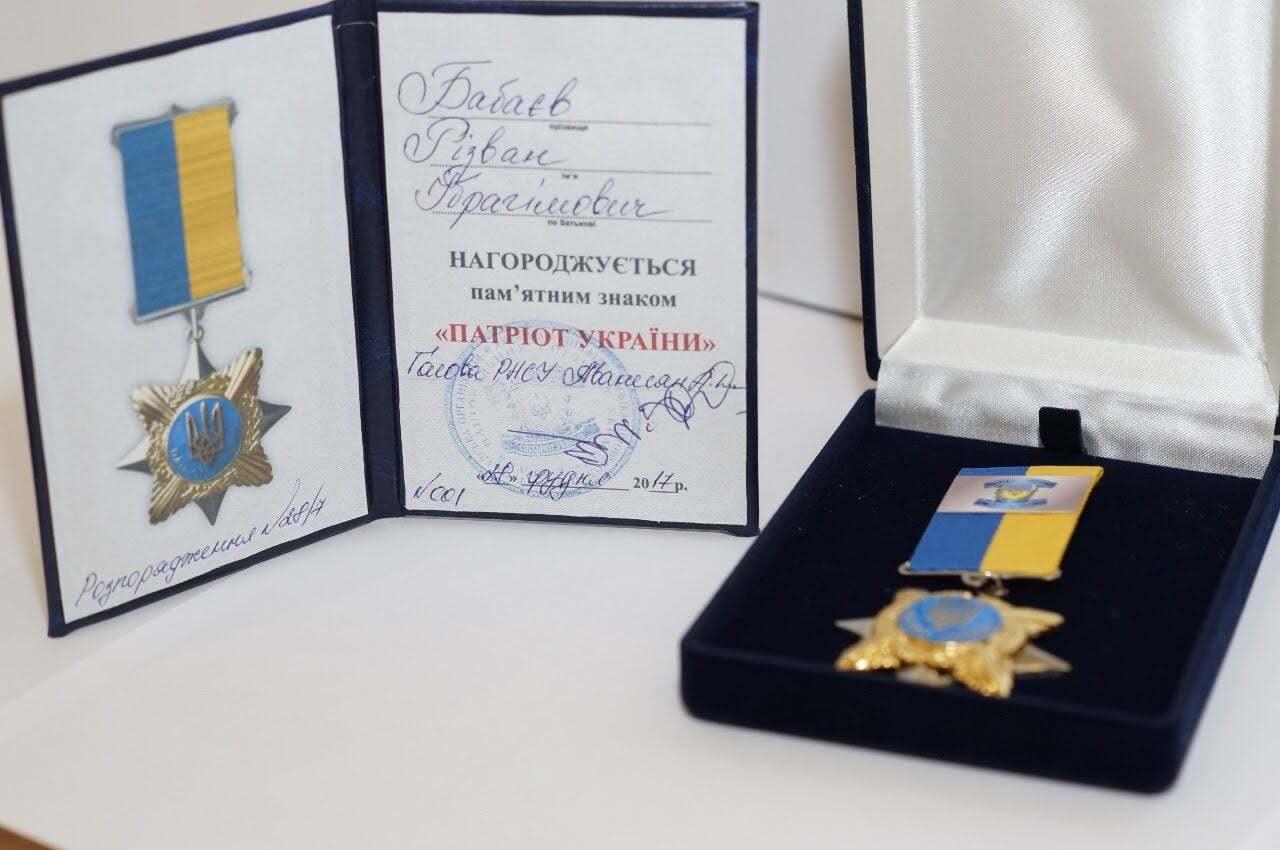 Бабаев имеет множество наград за патриотизм и помощь украинцам