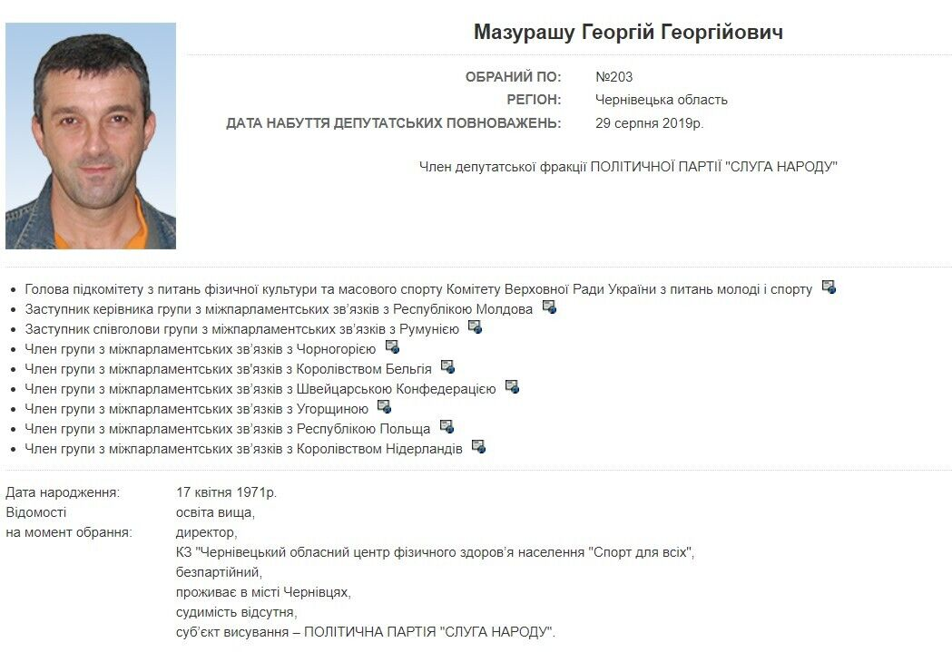 За даними джерел, йдеться про помічника нардепа Георгія Мазурашу