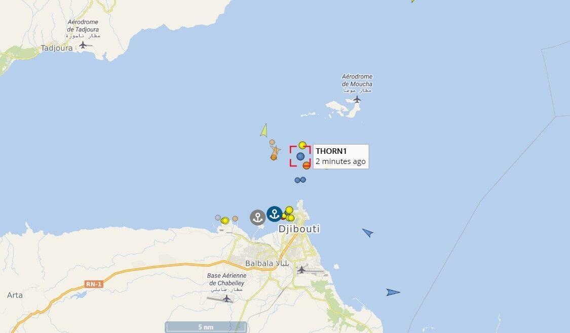 Местоположение судна с украинцами на борту
