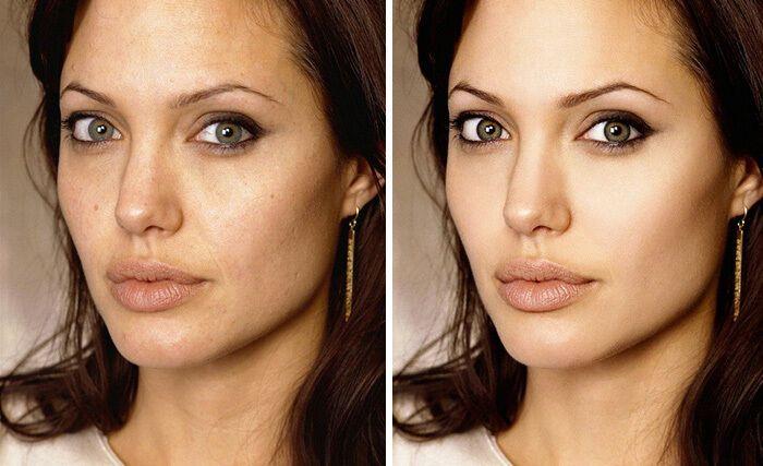 Ретушер сделал идеальную кожу для Анджелины Джоли.
