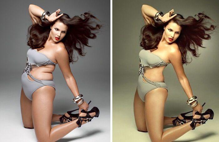 Американской модели убрали складки.
