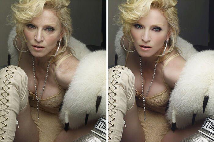 На обложке Мадонна выглядит моложе.