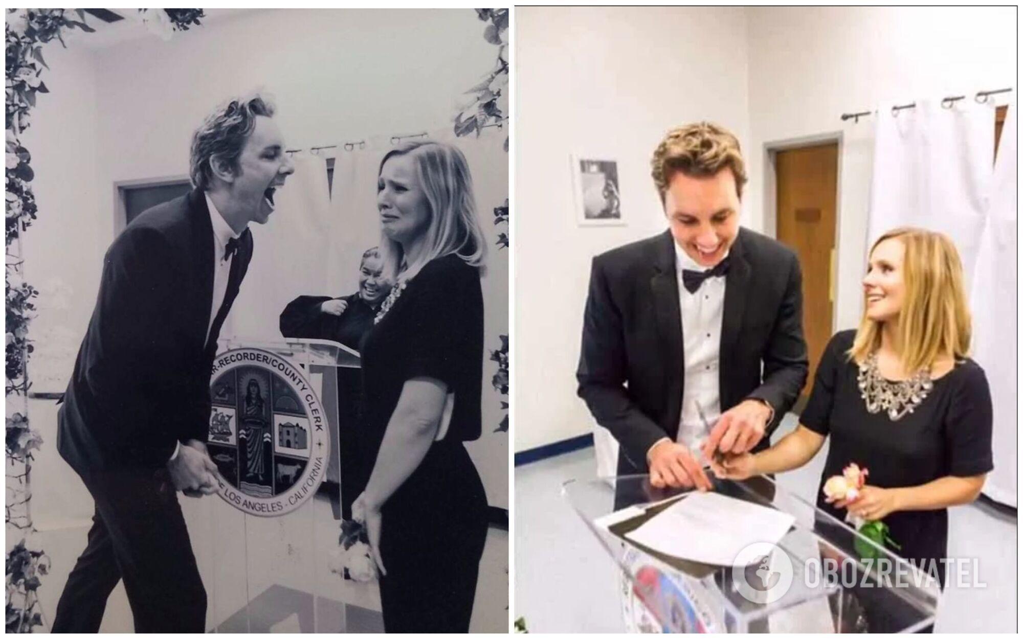 Свадебный наряд Кристен Белл в 2013 году