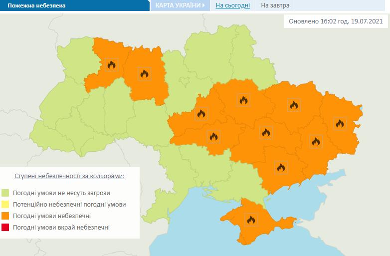 На юго-западе и на востоке страны оранжевый уровень пожарной опасности.