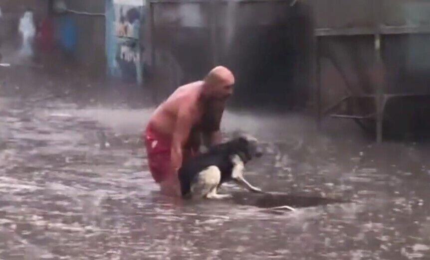 Чоловік врятував собаку від смерті.