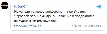 Черчесов привітав Шевченка