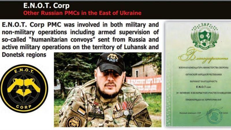 Данные Службы безопасности Украины о ЧВК ЕНОТ.