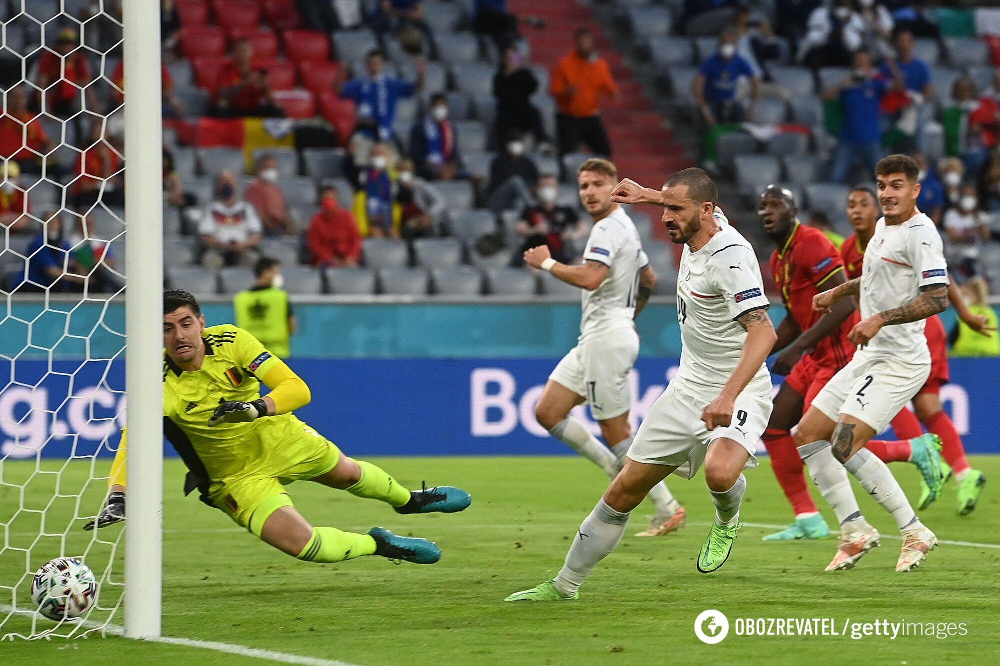 Италия в четвертьфинале обыграла Бельгию.