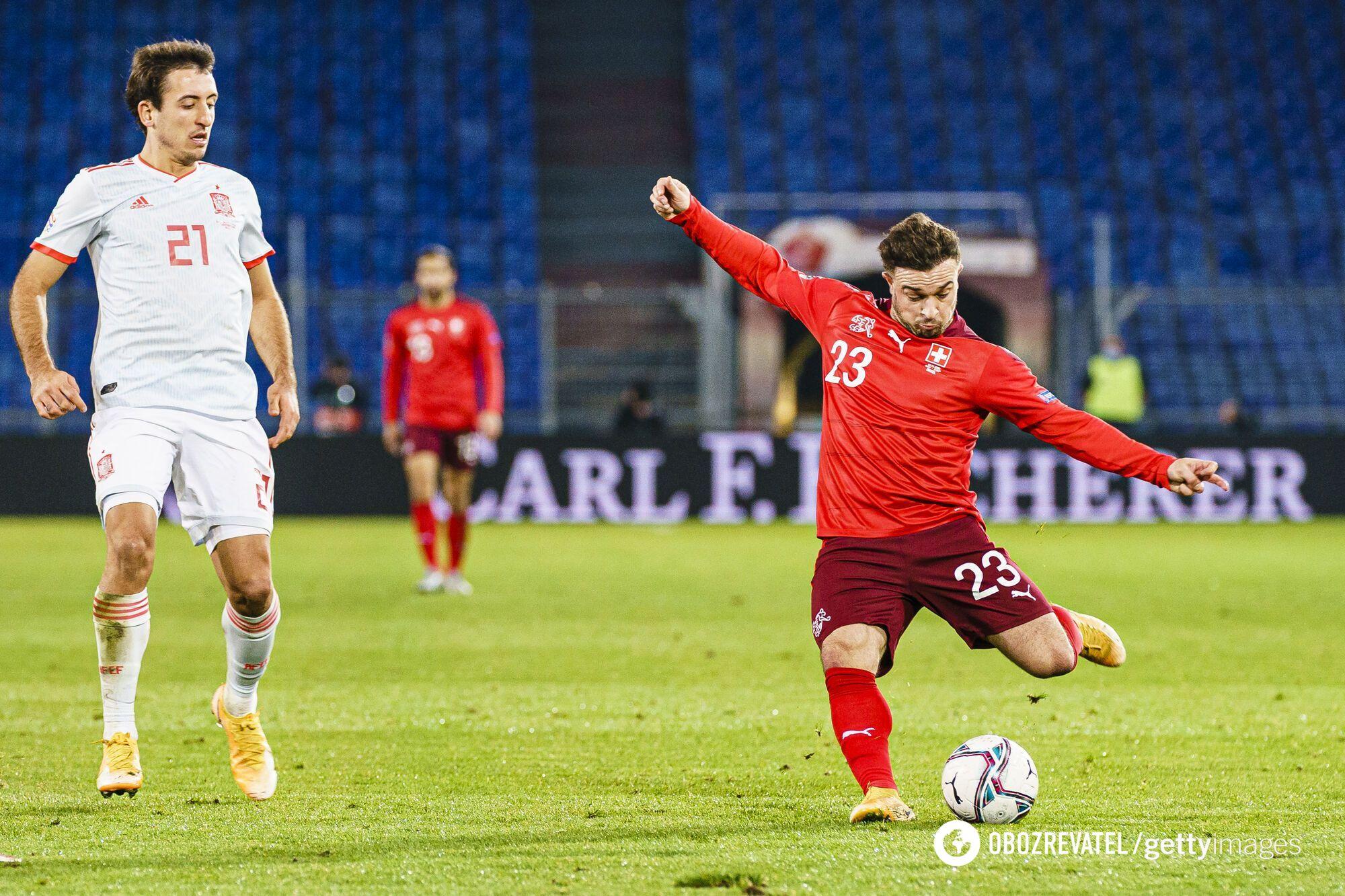 Испания и Швейцария играли в Лиге наций в 2020 году