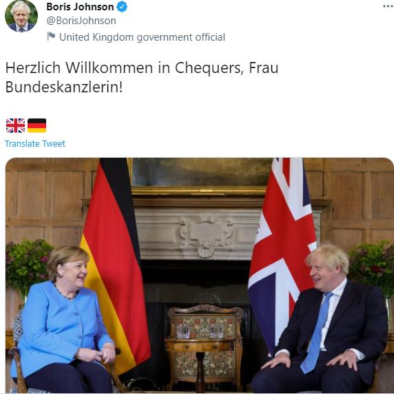 Меркель на встрече с Джонсоном в Чекерсе.