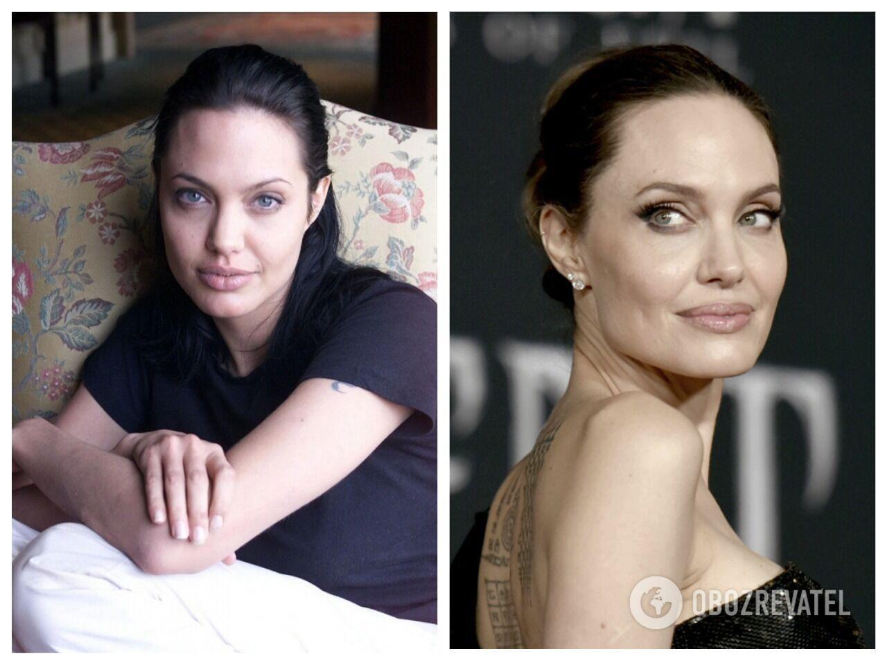 Слева – 2000 год, Анджелине тогда было 25 лет