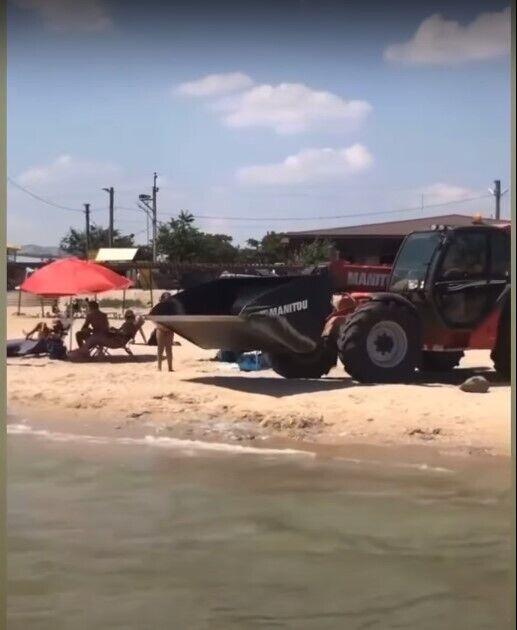 Медуз вывозят с пляжа