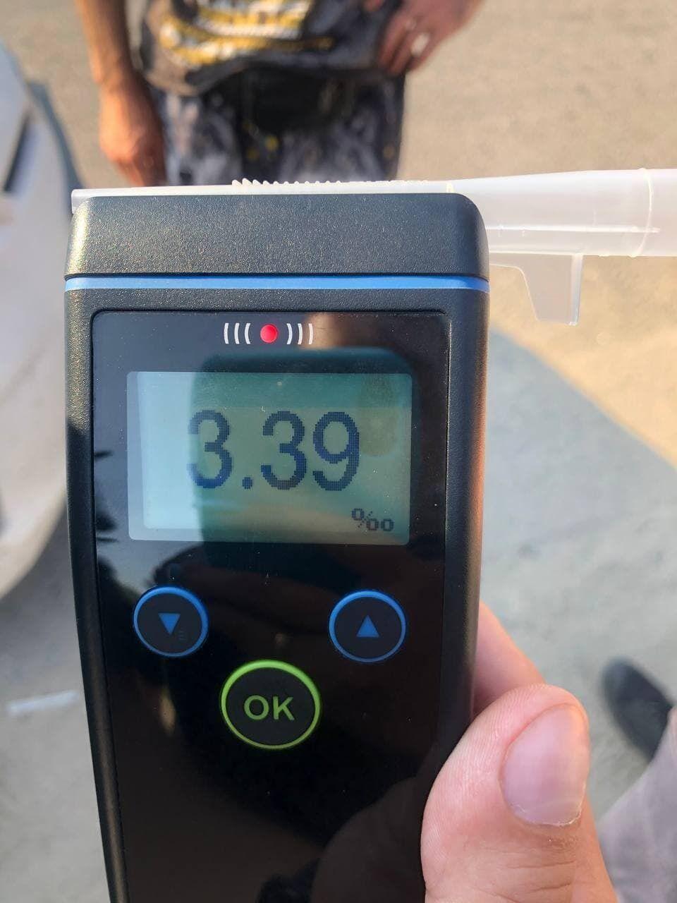 Драгер показав 3,39 проміле алкоголю в крові
