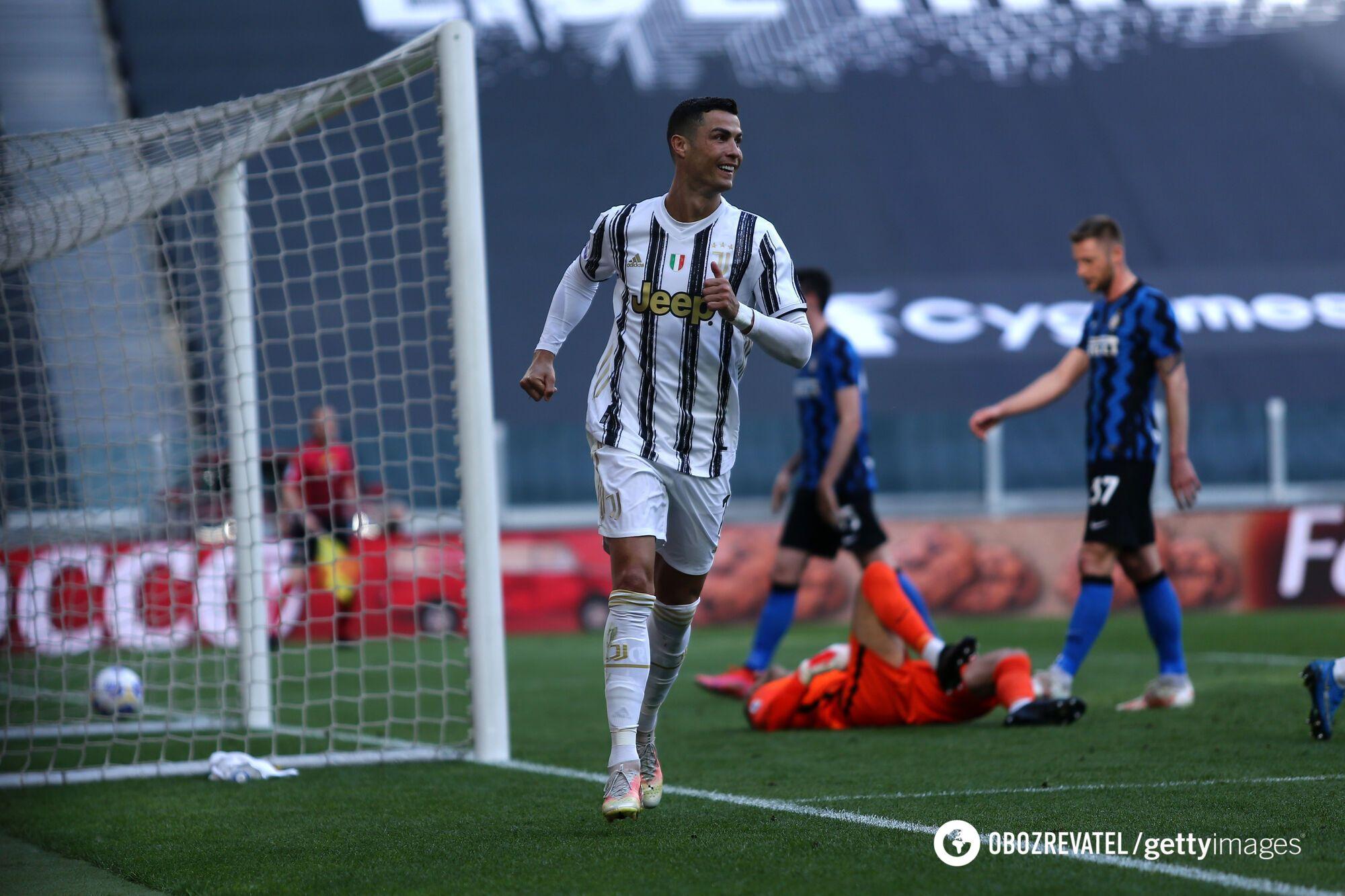 """Роналду празднует гол в ворота """"Интера"""""""