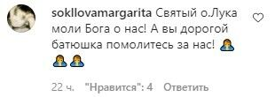 Маргарита Соколова написала коментар під постом священника