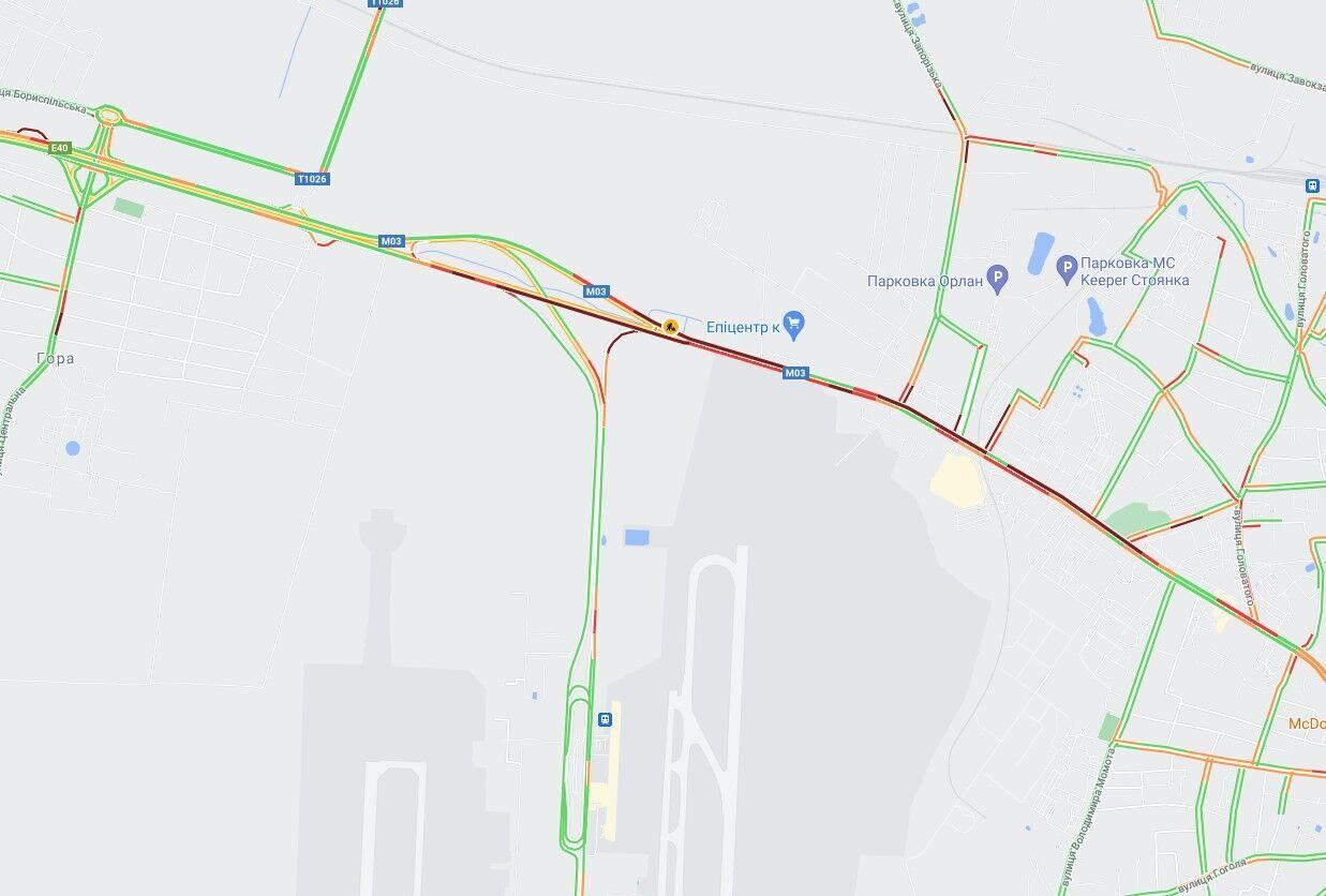 ДТП произошло на Бориспольском шоссе.