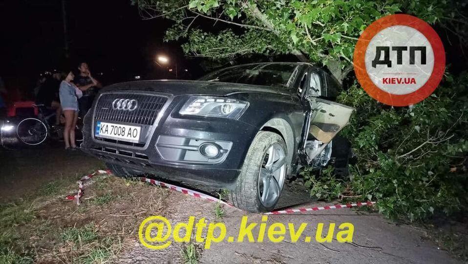 В Киеве произошло пьяное ДТП.