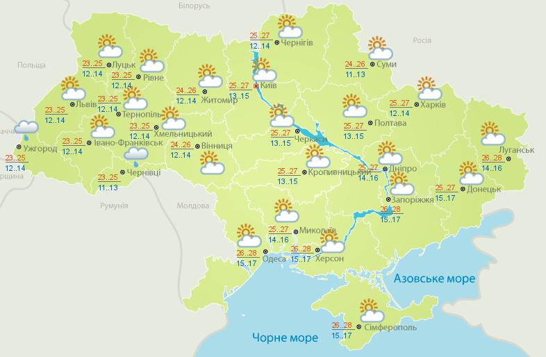 Прогноз погоди на 23 липня.