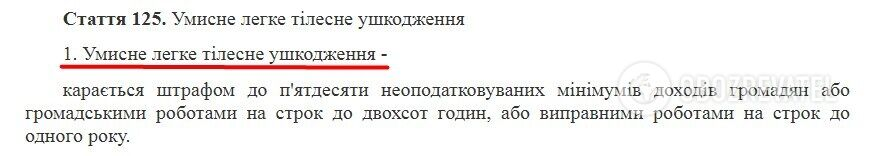 Стаття 125 КК України
