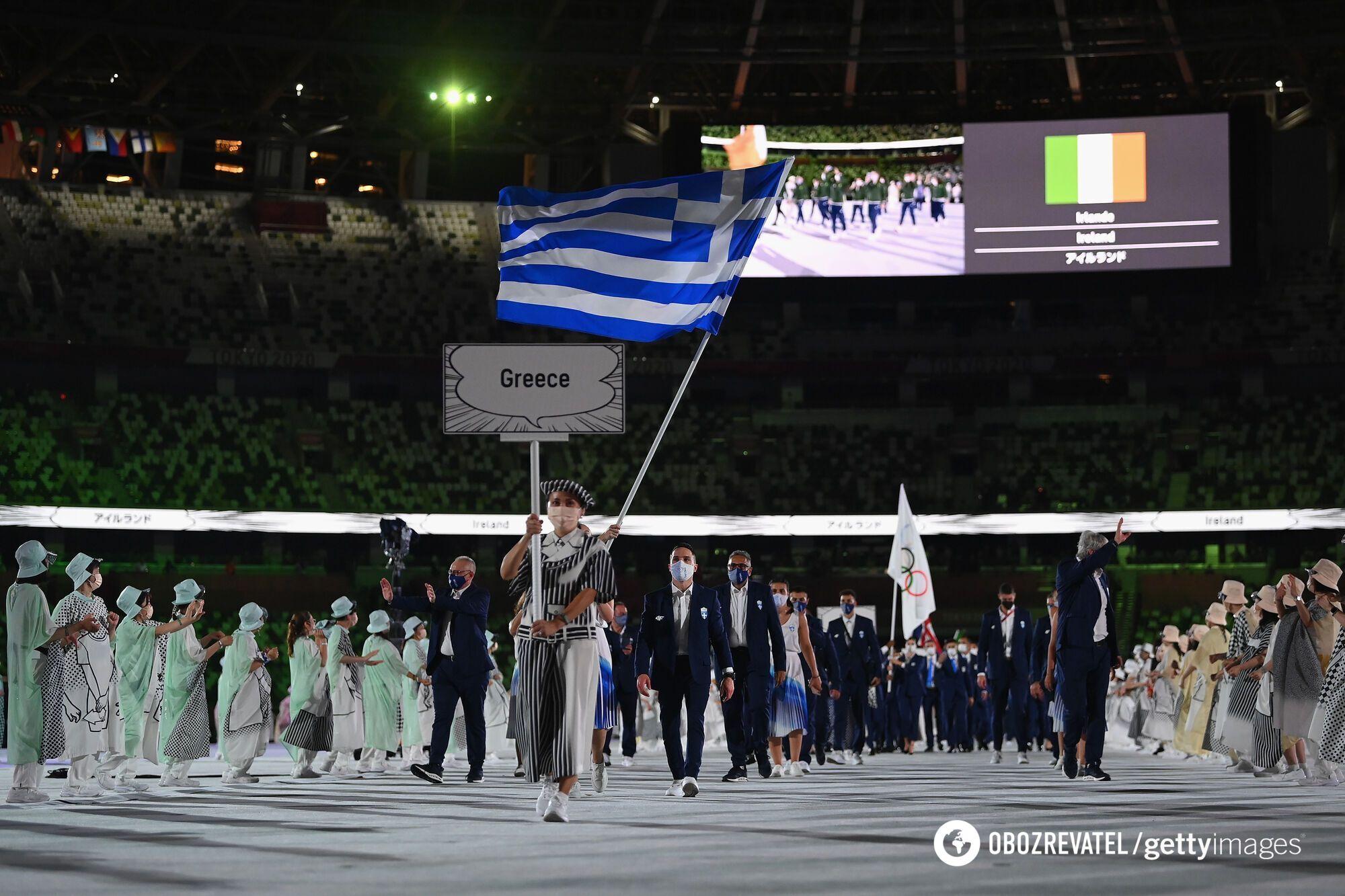 Греция на открытии Олимпиады.