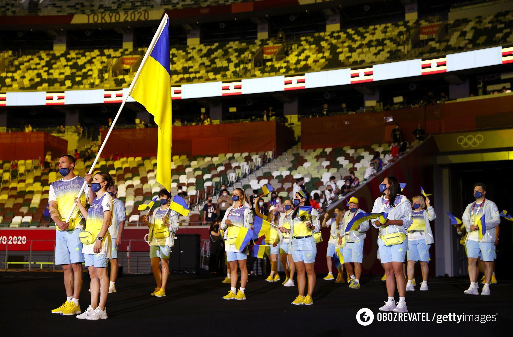 Українці на арені в Токіо під час відкриття Ігор.