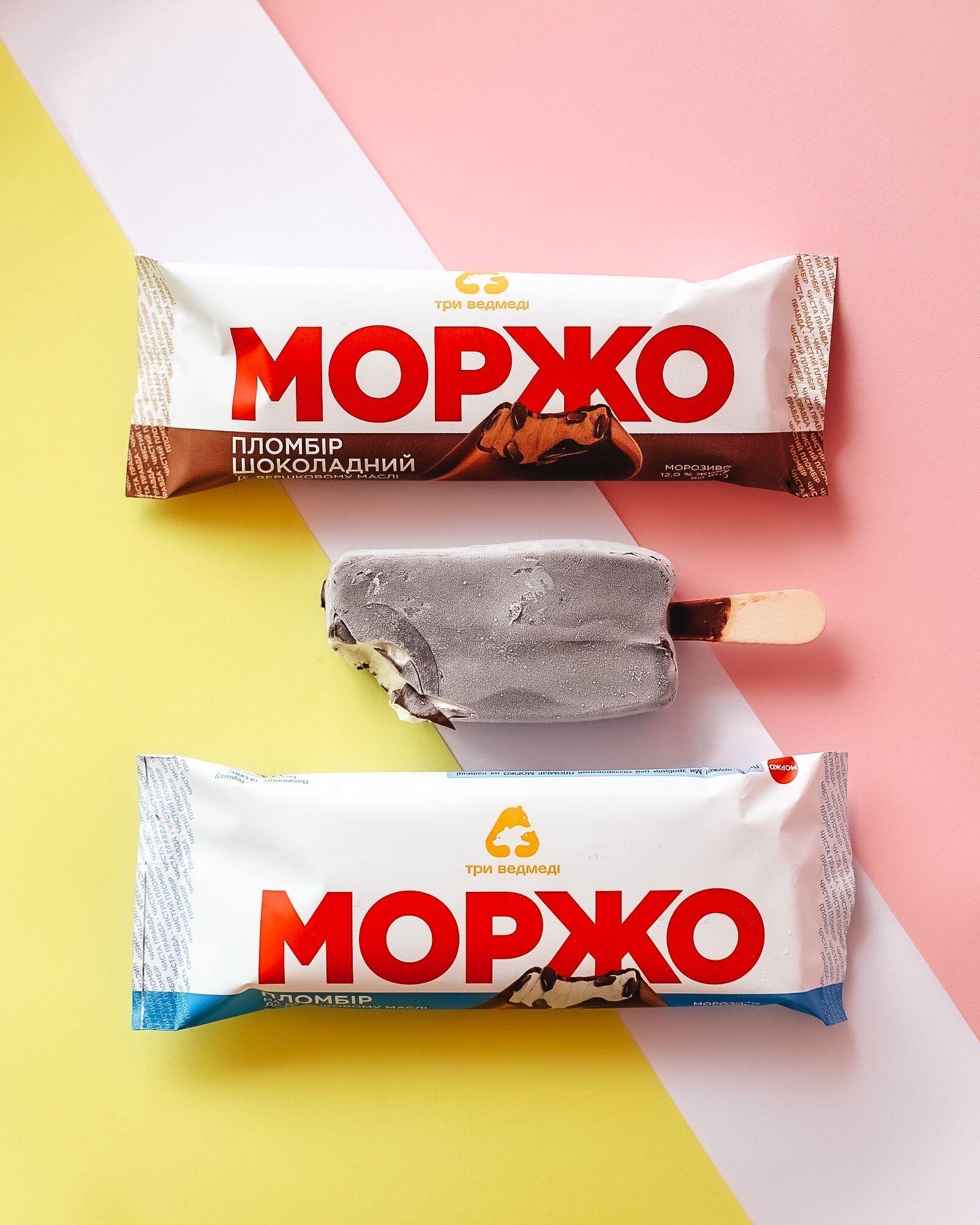 Мороженое пломбир и шоколадный пломбир МОРЖО глазированное на палочке