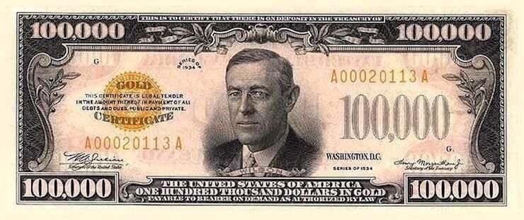 Знаете ли вы, кто изображен на банкноте номиналом 100 тысяч долларов?