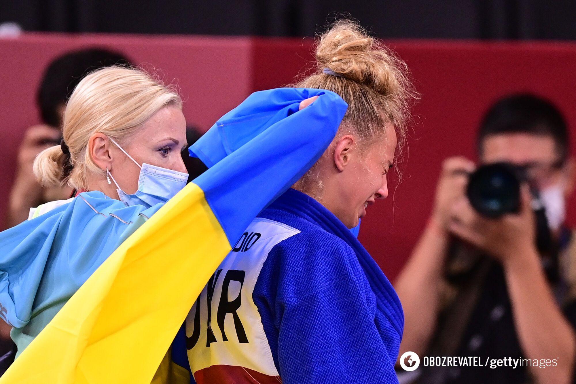 Дар'я Білодід із мамою/тренеркою