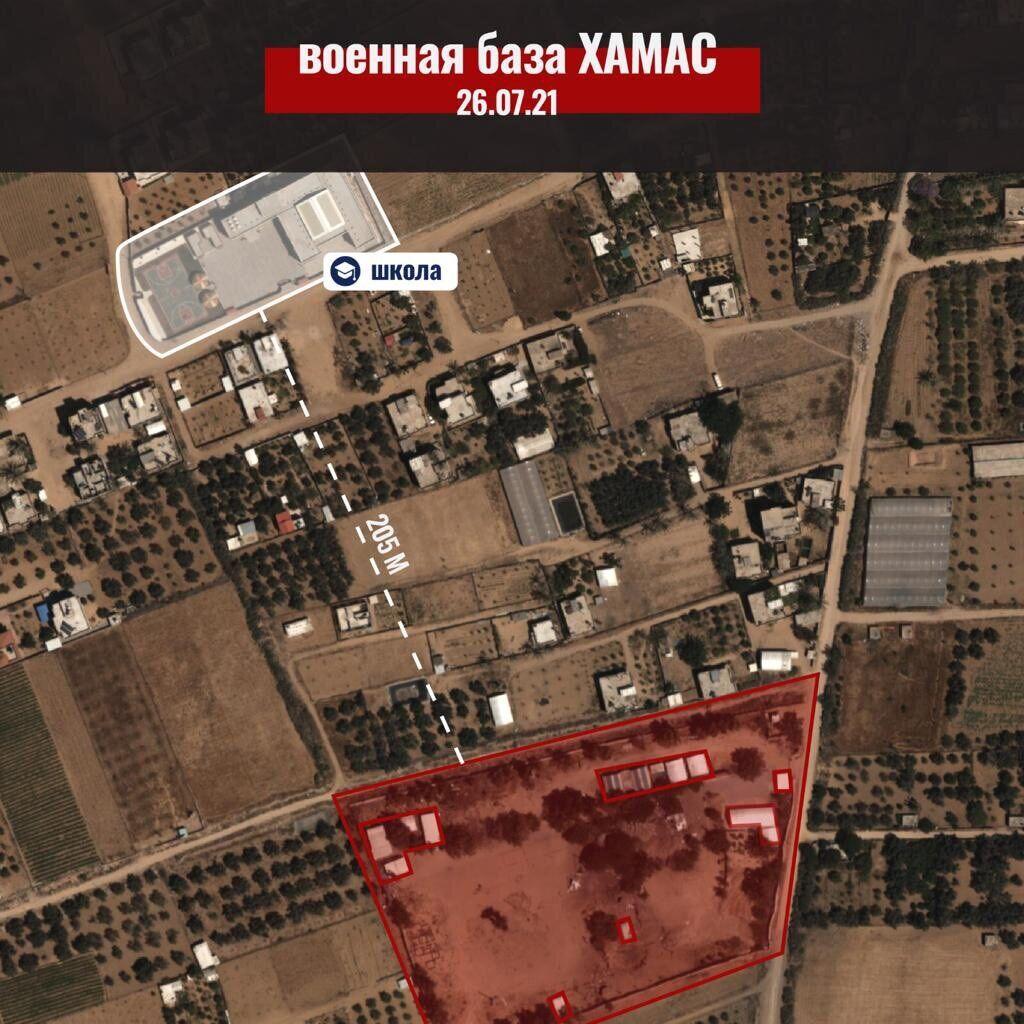 Военная база ХАМАС и школа на карте.